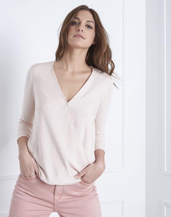 Vanina crossover neckline top bimaterial powdered blouse (2) - Maison 123