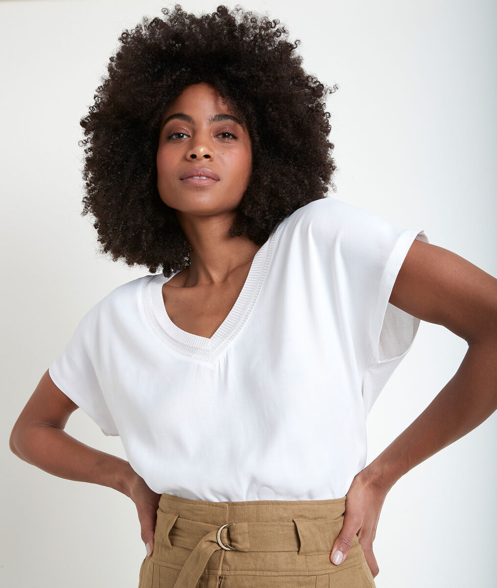 Wicky ecru two-fabric T-shirt PhotoZ | 1-2-3