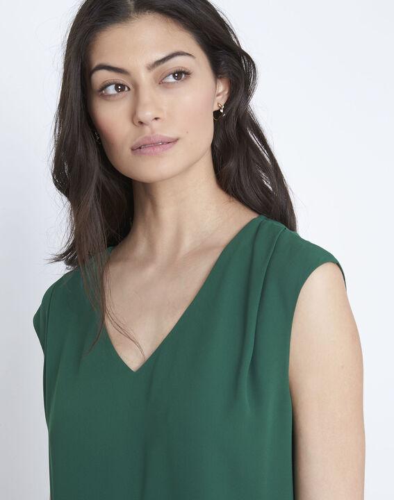 Neptune green bi-material V-neck blouse (3) - Maison 123