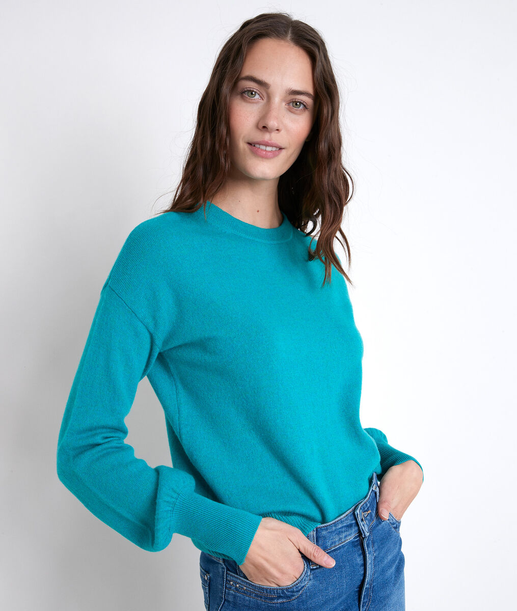 ALANIS turquoise wool and cashmere jumper PhotoZ | 1-2-3