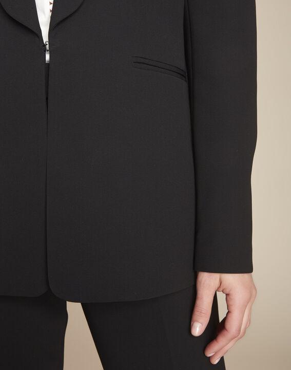 Stella black microfibre shawl collar jacket (3) - Maison 123