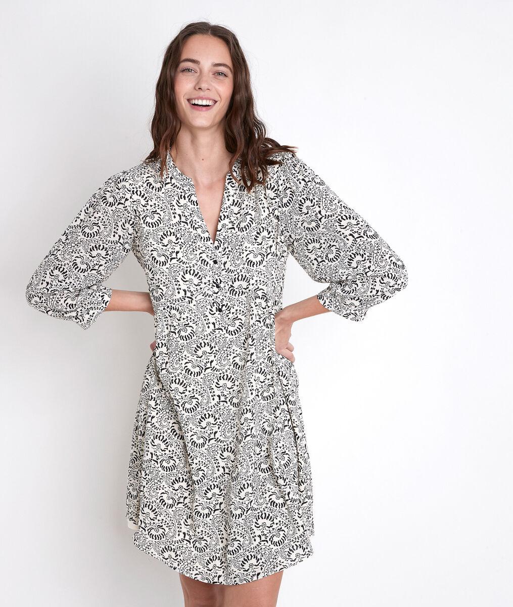 CALYPSO ecru printed dress PhotoZ | 1-2-3