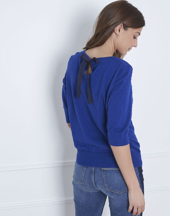 Adriana blue 3D knit pullover with grosgrain bow (4) - Maison 123