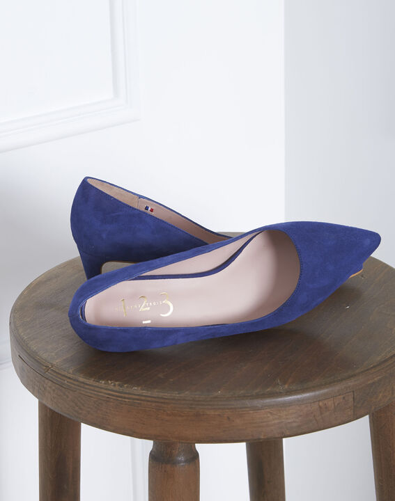 Lili blue high heels in suede goatskin PhotoZ | 1-2-3