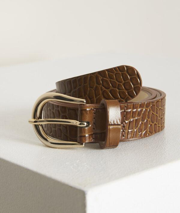 Karine tobacco mock croc leather belt PhotoZ | 1-2-3