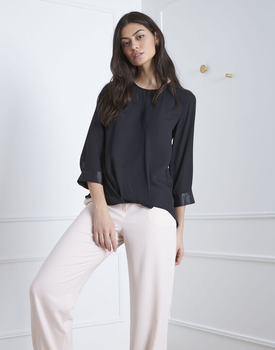 Valeria black blouse with satin-effect details (1) - Maison 123