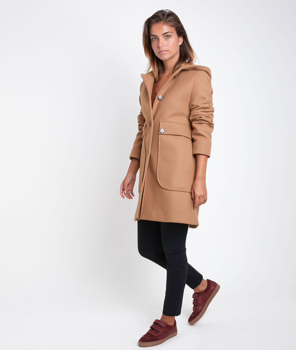 Ophelie camel hooded wool coat PhotoZ | 1-2-3