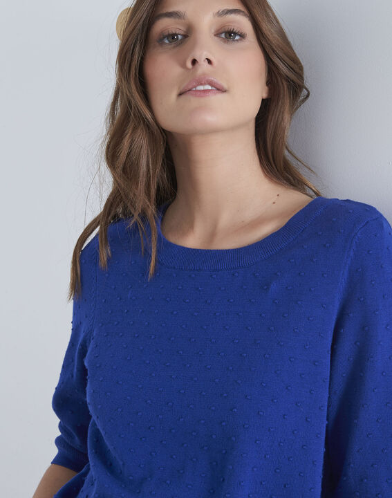 Adriana blue 3D knit pullover with grosgrain bow (3) - Maison 123