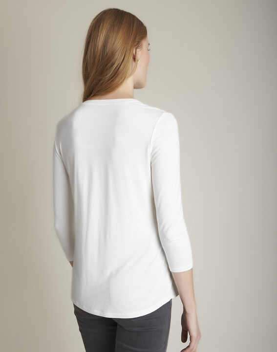Bimaterial ecru blouse with Genna Henly collar  (4) - Maison 123