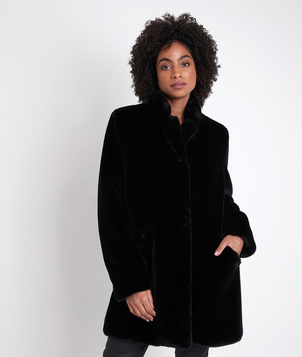 Olga black faux fur coat PhotoZ | 1-2-3