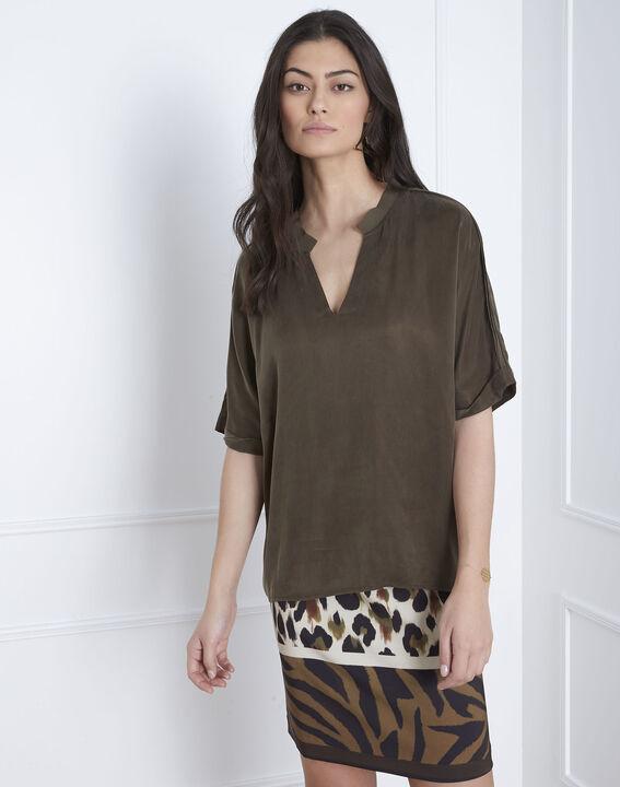 Venise khaki bi-material blouse (2) - Maison 123