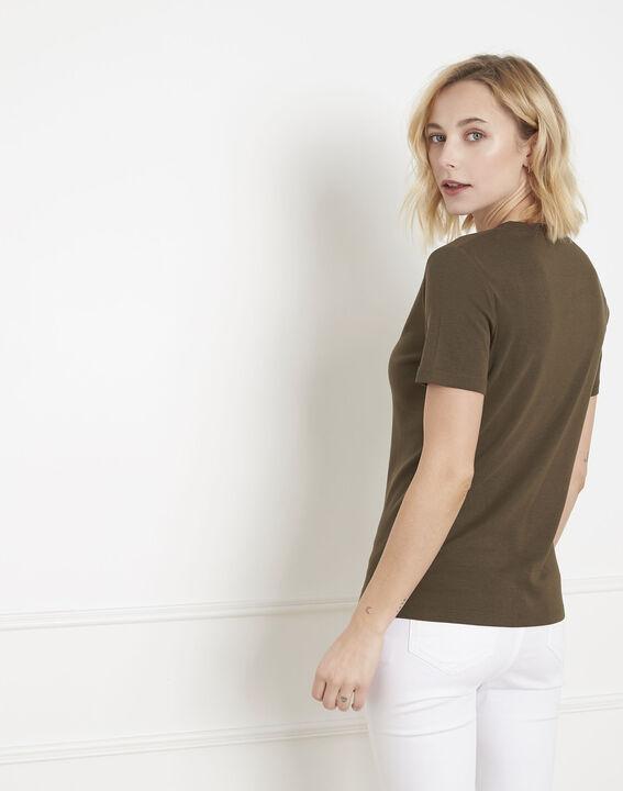 Priscille khaki bias-cut lurex T-shirt (4) - Maison 123