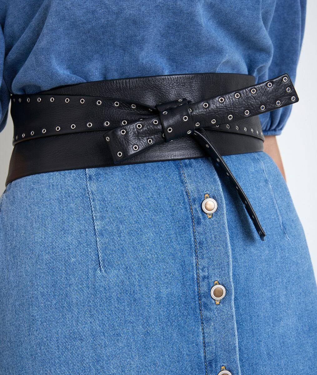 Sharon wide black leather tie belt PhotoZ | 1-2-3