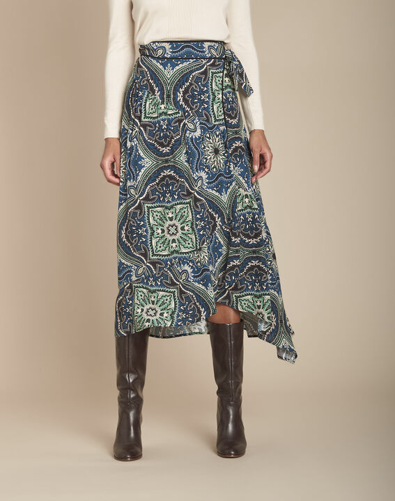 Kashmir navy paisley print wrap skirt PhotoZ | 1-2-3