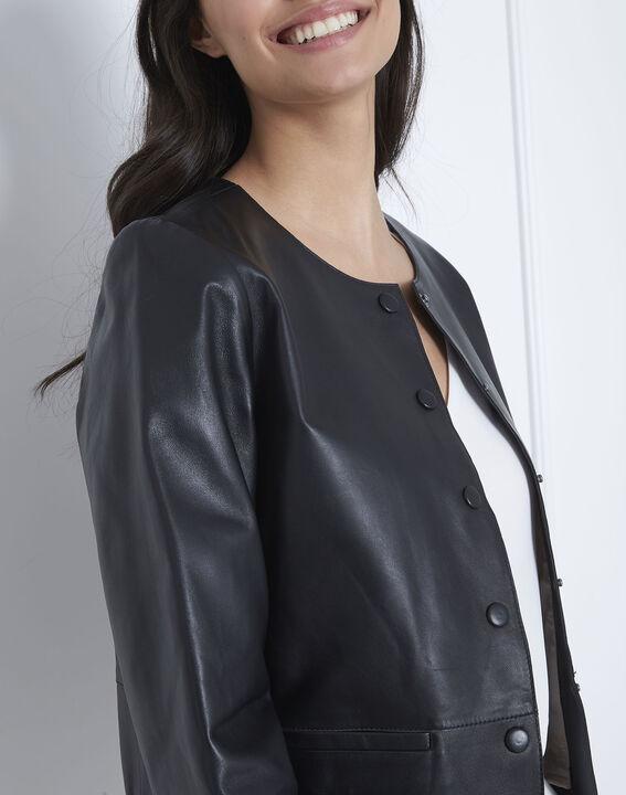 Thea black leather jacket (3) - Maison 123