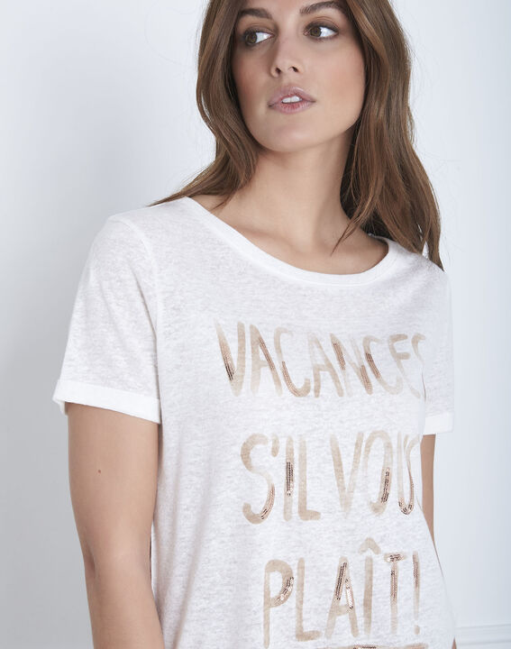 Patagonia ecru linen blend slogan T-shirt (3) - Maison 123