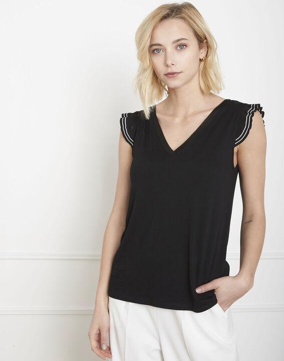 Paulina black ruffled T-shirt PhotoZ | 1-2-3