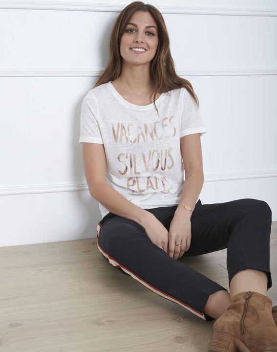 Patagonia ecru linen blend slogan T-shirt PhotoZ | 1-2-3