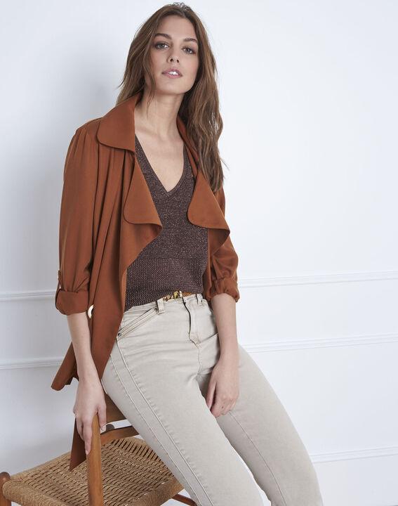 Beige sweater with Amande lurex V-neck PhotoZ   1-2-3