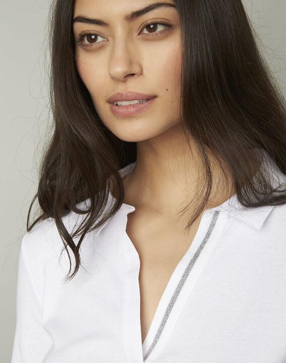 Primerose white lurex T-shirt with V neckline (4) - Maison 123