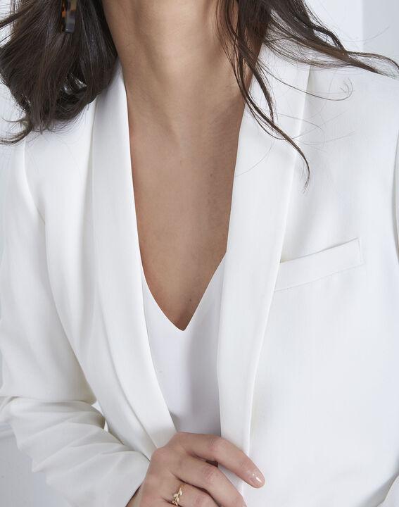 Sabrina white shawl-neck jacket (3) - Maison 123
