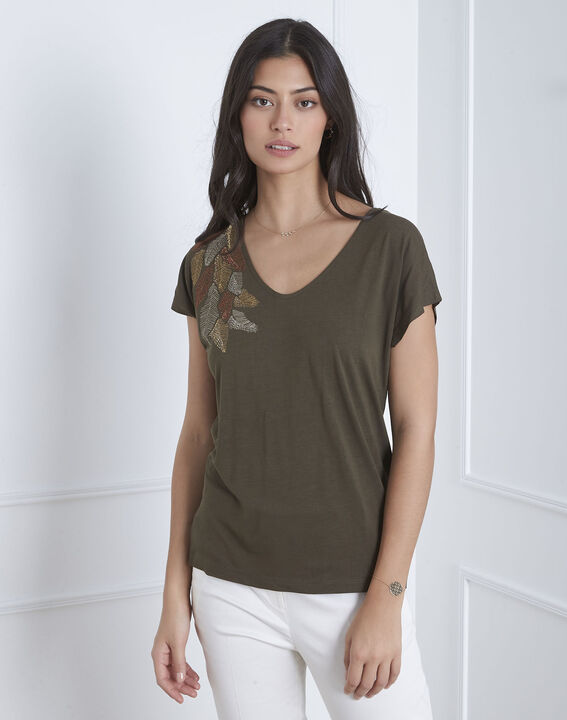 Pandore khaki feather embroidery T-shirt PhotoZ | 1-2-3