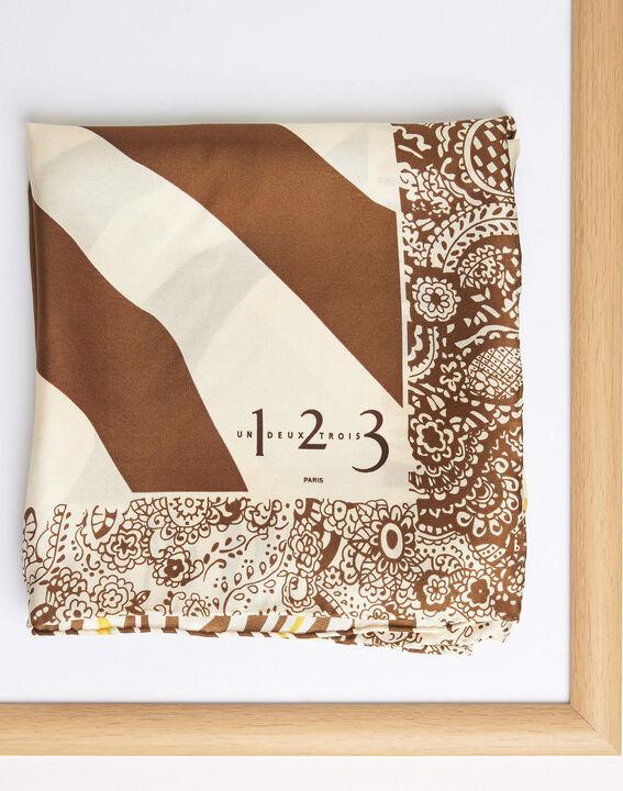 Abba caramel decorative printed square scarf in silk (1) - Maison 123