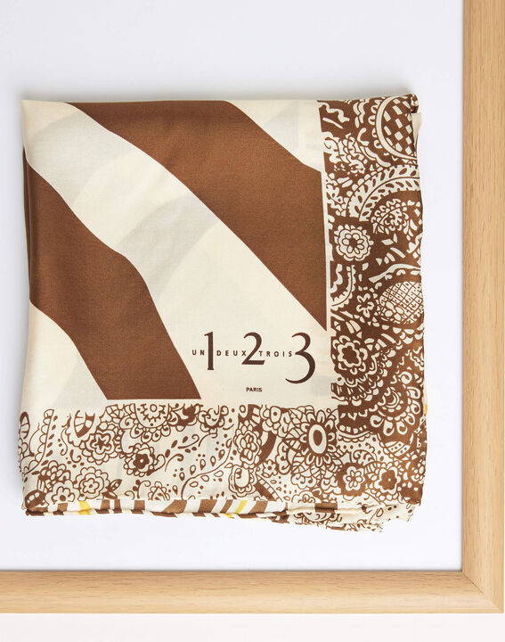 Abba caramel decorative printed square scarf in silk PhotoZ | 1-2-3