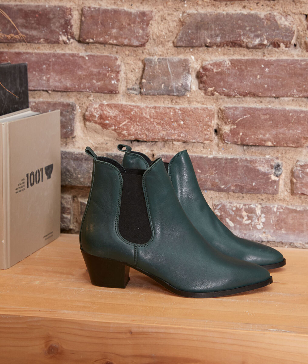 Vera emerald leather ankle boots PhotoZ | 1-2-3