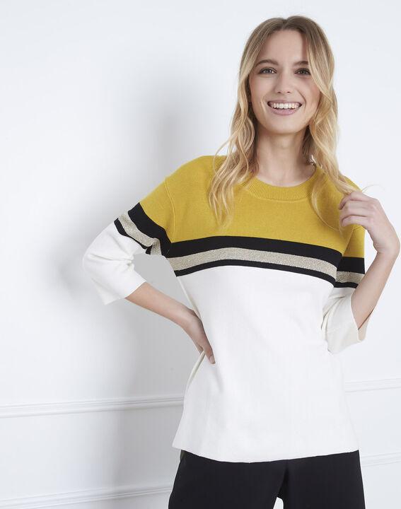Absynthe yellow colourblock striped jumper (2) - Maison 123