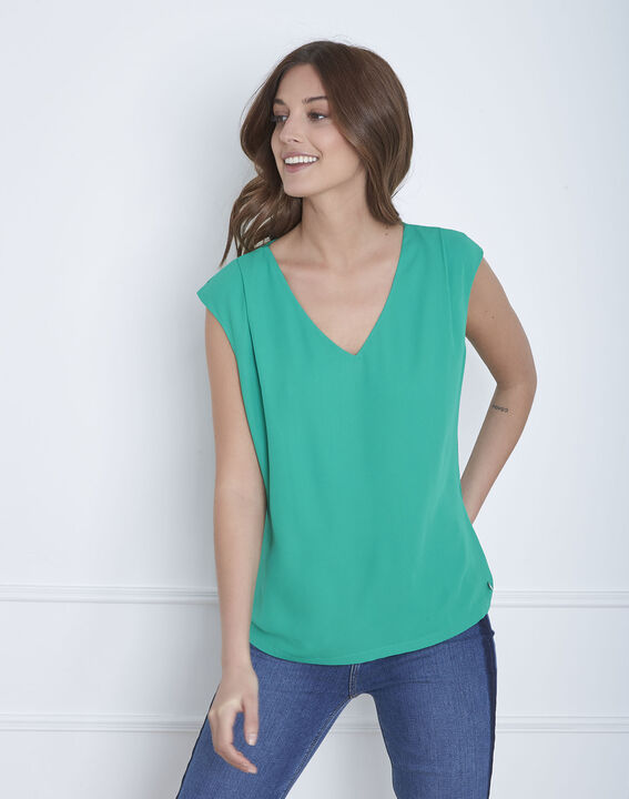 Neptune green dual-material blouse (2) - Maison 123