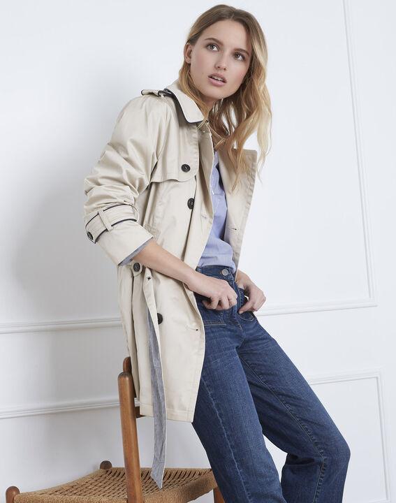 Dorine short beige trench coat with contrasting bias (2) - Maison 123
