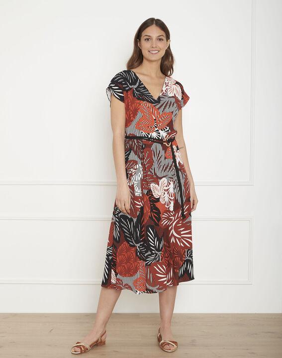 Ludmilla mahogany print belted dress PhotoZ | 1-2-3