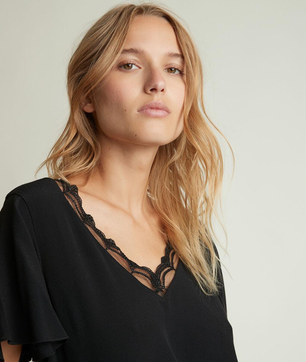 Divine dual-fabric black top PhotoZ | 1-2-3