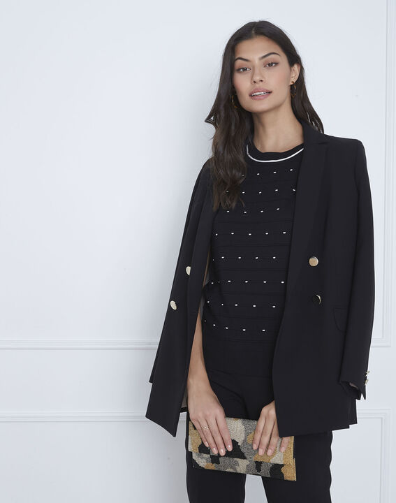 Arles black relief knit pullover (2) - Maison 123