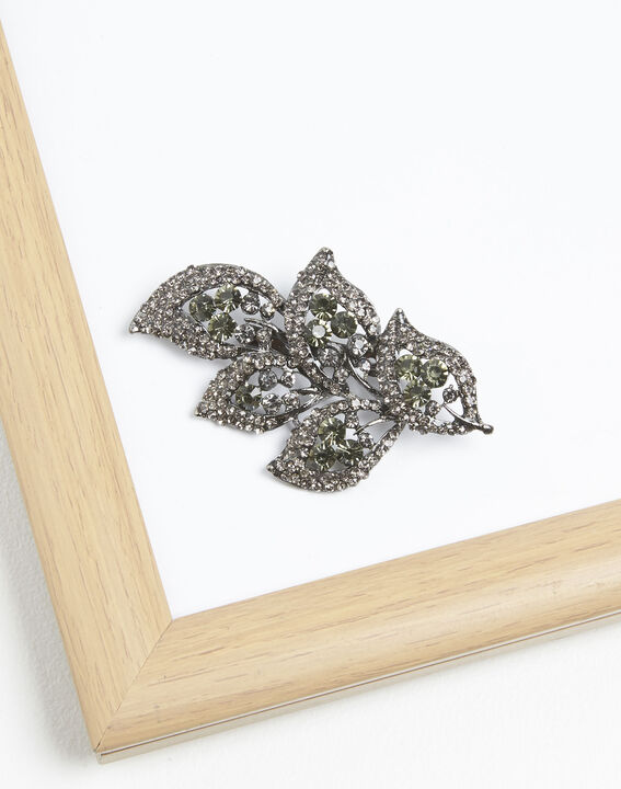 Xelia leaf brooch with black stones (1) - Maison 123
