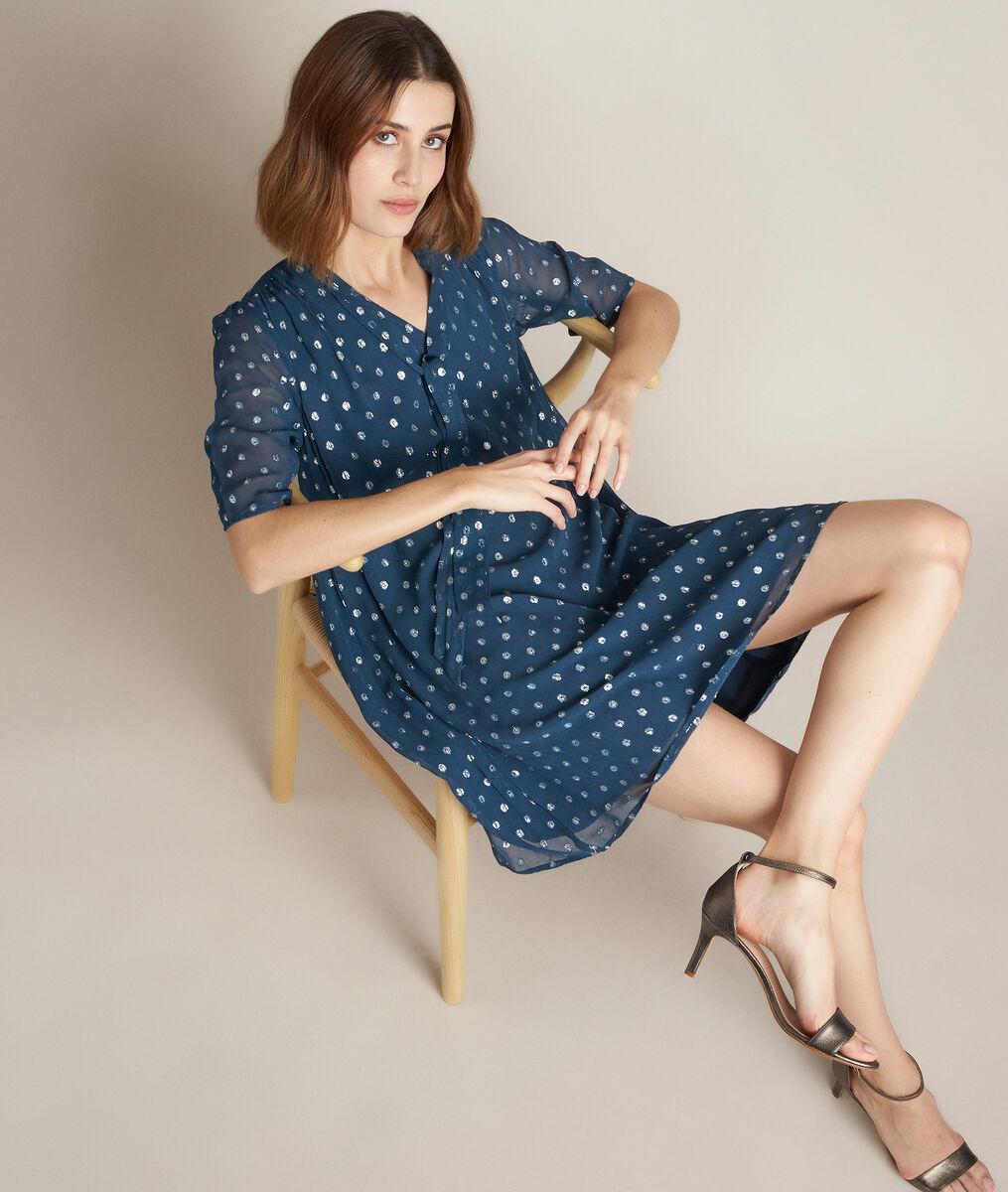 Odette polka-dot dress with lavallière bow neck PhotoZ | 1-2-3