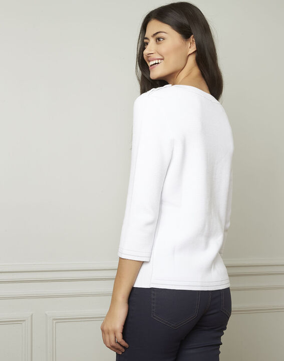 Avocado white pullover with buttons and lurex details (3) - Maison 123