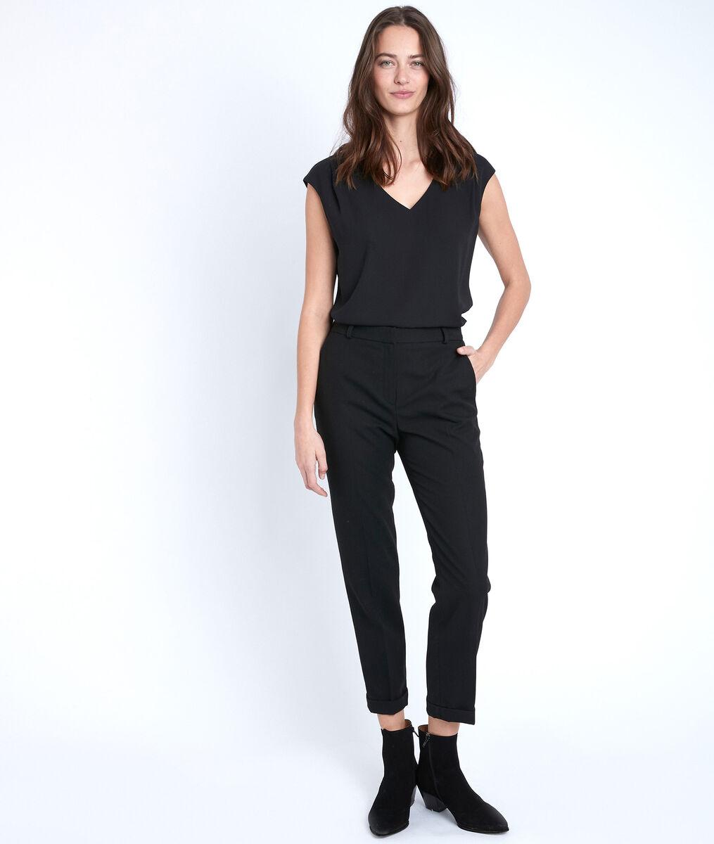 Felix black piqué cigarette-cut trousers PhotoZ | 1-2-3