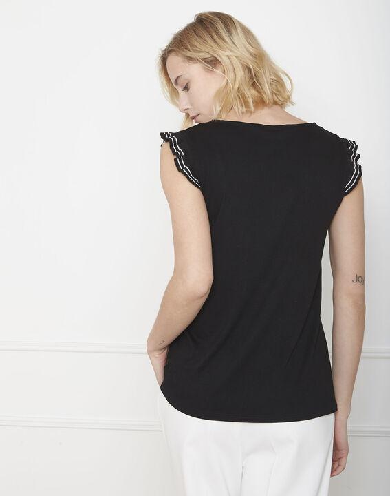 Paulina black ruffled T-shirt (4) - Maison 123