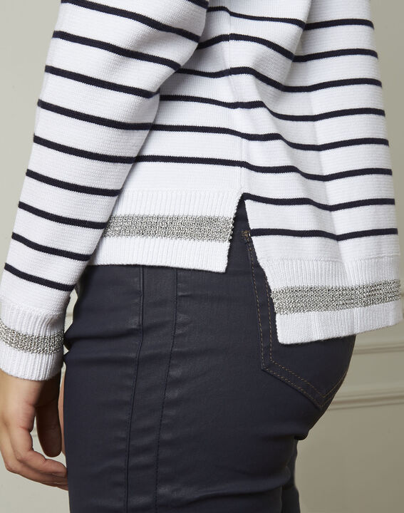Archipel white striped viscose blend pullover (4) - Maison 123