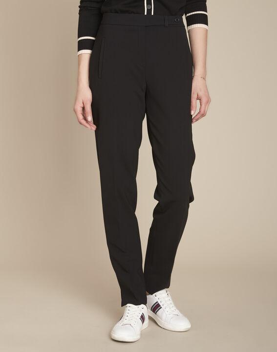 Lara black microfibre cigarette trousers (1) - Maison 123