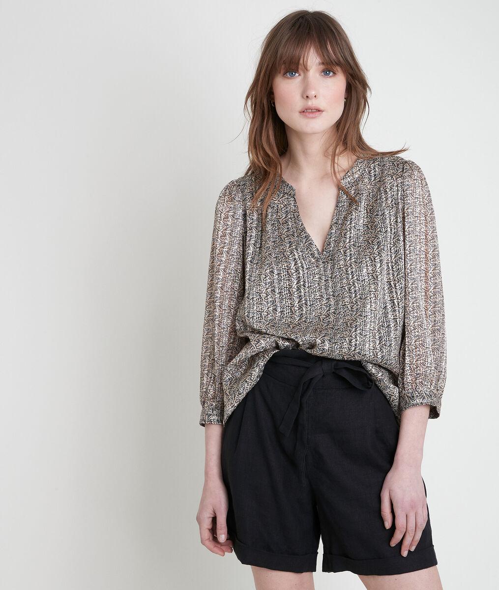 ELSA camel-coloured printed lurex blouse PhotoZ | 1-2-3