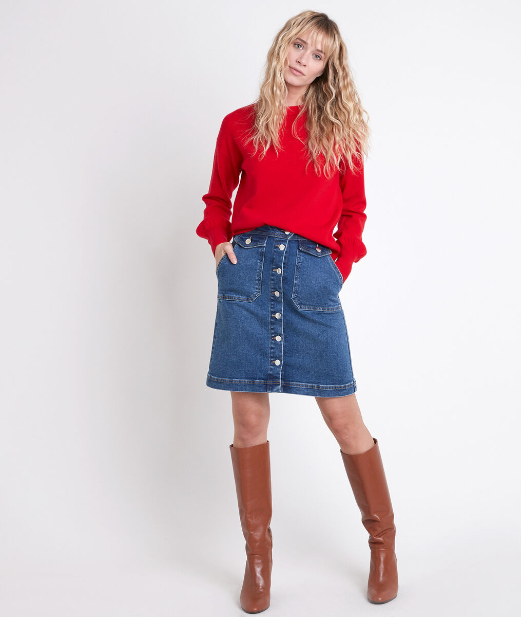 Ambre denim buttoned skirt PhotoZ | 1-2-3