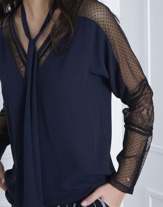 Verica navy lace tie blouse (3) - Maison 123