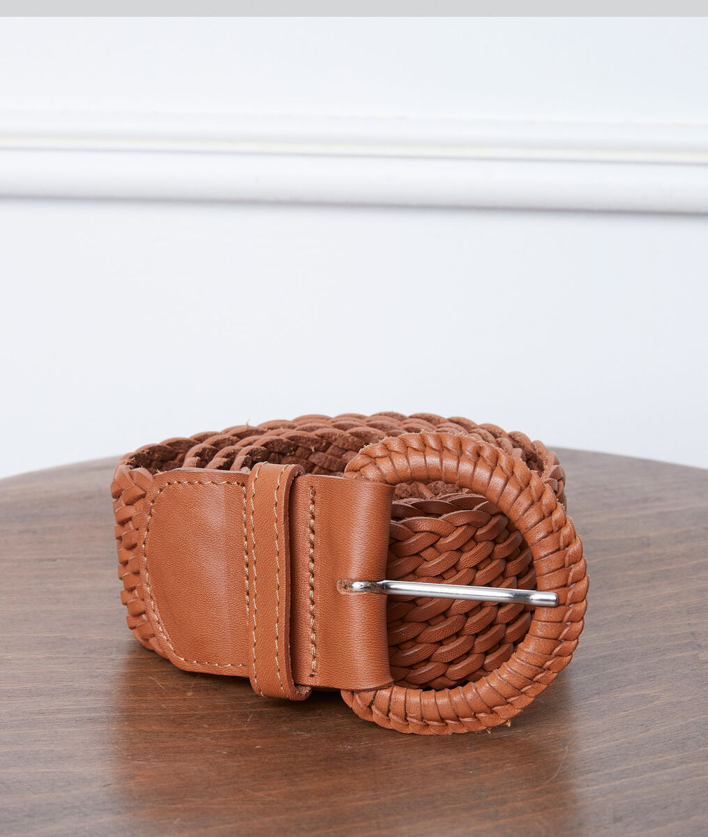 Sandie camel-coloured leather braid belt PhotoZ   1-2-3