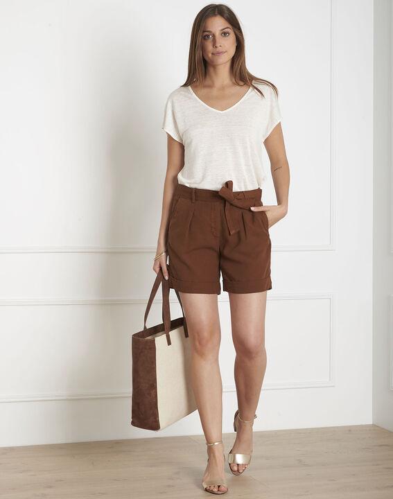 Gilda brown Tencel shorts with turn-ups PhotoZ | 1-2-3