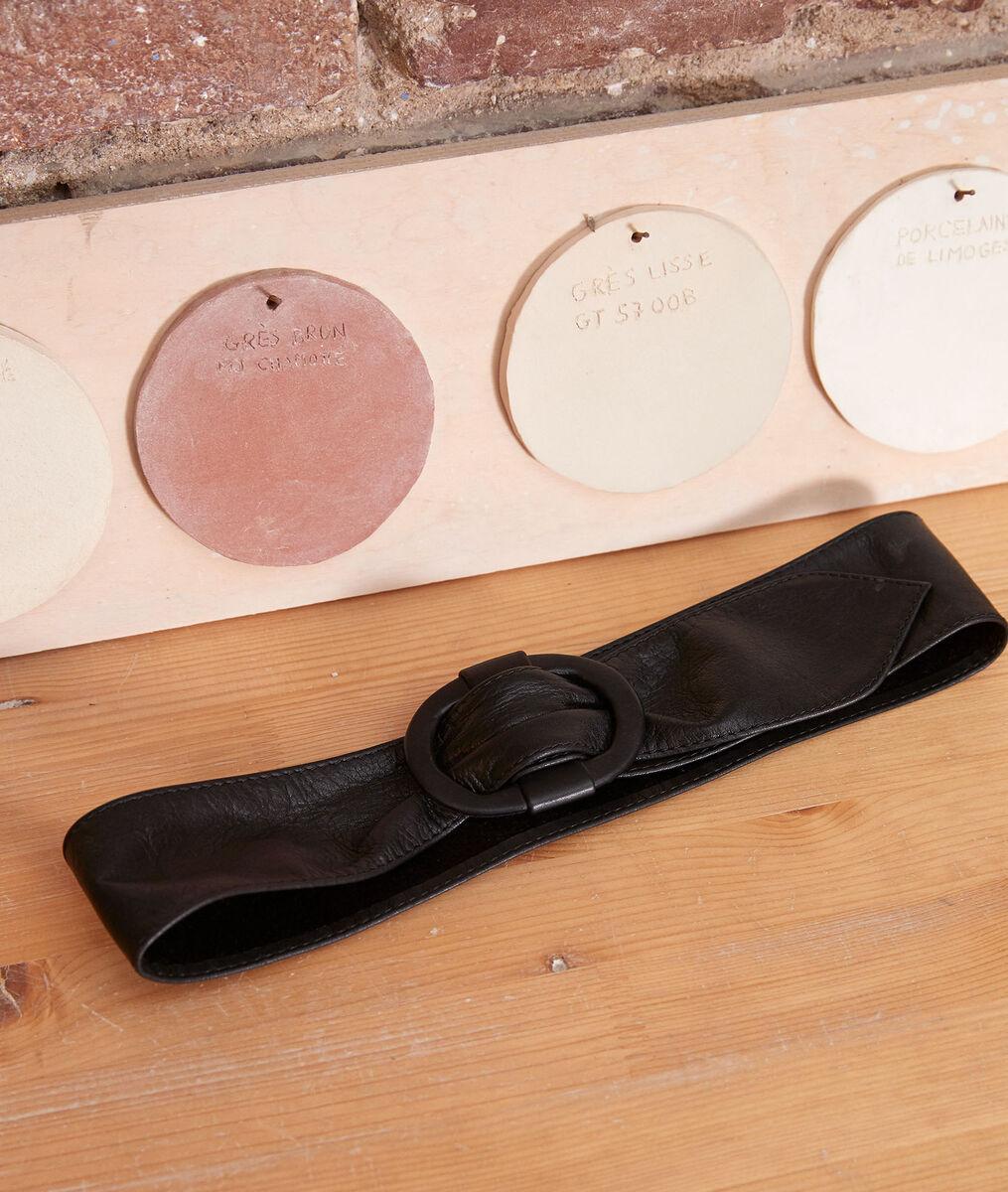 Elya wide black leather belt PhotoZ | 1-2-3
