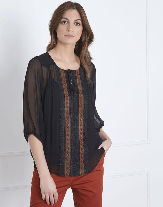 Valentine black lace blouse with tassels (1) - Maison 123