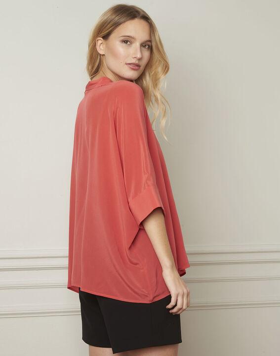 Vania coral flared silk blouse (3) - Maison 123
